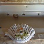 Plentiful bath amenities, jacuzzi and shower