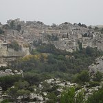 A view of Les Baux from across the mountain