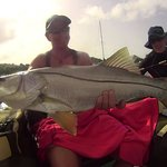 Ali, my wife outdone us both with this large Snook. The Tarpon she sadlost was at least 6 foot l