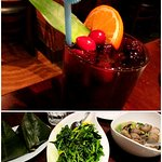 Top - Red Wine Sangria. Bottom - Coconut Sticky Rice, Spinach with Turmeric, Clams with Lemongra