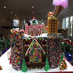 Amazing holiday gingerbread display in the lobby
