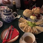 Good selection of sandwiches and delicious scones. Cakes were average. Vintage teacups and sauce