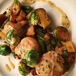 Seared Scallops with Green Bean Hash and Candied Brussel sprouts