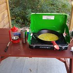 Cooking on our small grill - breakfast in the morning at Hadley's Point