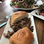 Philly sandwich and tri tip salad