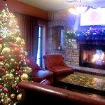 Christmas Tree, Fireplace and Comfortable Seating Areas, Crush Ultra Lounge, Napa, CA