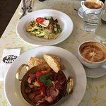 Lovely brunch food; chicken pappardelle was outstanding