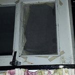 Broken window in room