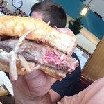 Nice rare, tender, tasty steak sandwhich