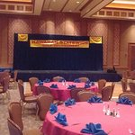 Stage is set to give out Tourney prizes, eat a great meal, and mingle before entertainment & dan