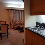 Kitchenette and dining table.