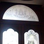 detailed glass etchings in the doors and doorways
