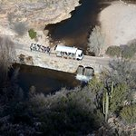 View of the Tram in Sabino Canyon from atop Blackett's Ridge