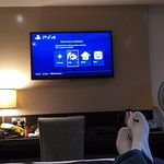 "Playstation plugged into HDMI on a 32"" screen, ready to chill"