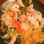 chicken and veggies with a side of Singapore noodles