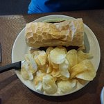 Hot Sausage on French Bread with Potato Chips...