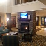 Breakfast area with fireplace and tv