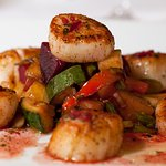 jumbo scallops, roasted red and golden beets, carrots, squash, zucchini, lemon thyme jus