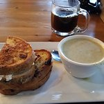 Cranberry sourdough bread grilled cheese with broccoli soup