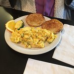 Cobb sandwich, the oinker sandwich and salmon scramble