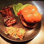 Philippino Pork Love Burger, Bombay Aloo & Singaporean Coleslaw