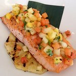 Salmon daily special with mango and pineapple salsa