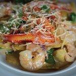 Johnnys Chanel - Lobster, shrimp, artichokes, prosciutto, cheese ravioli, garlic cream sauce.