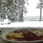 View from lodge dining room- serving breakfast, lunch, dinner, expresso drinks, spirits and more