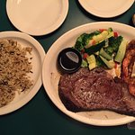 The prime rib and seasoned grilled shrimp and the half rack baby back rib dinner. Prime rib was