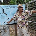 Domi explaining the birds at Kilauea wildlife preserve.