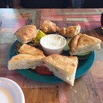 A delicious Ciabatta and Boursin appetizer with wonderful White Russian Club on Rye and Croissan