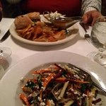 Top: brisket sandwich, Bottom: root vegetable salad