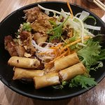 Grille chicken and spring roll vermicelli