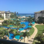 Pictures of the resort from lanai in building D top floor. Beach in front of the resort. Oasis r