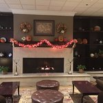 The lobby decorated for Halloween
