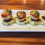 Pan Seared Scallops with candied pork belly and garlic herb risotto