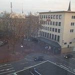 Blick vom Appartements zum Hotel