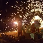 Fire show for a wedding on the beach