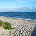 The beach is a short block away.