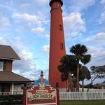 the Ponce Inlet Lighthous captured from the ground before climbing the stairs in the lighthouse.