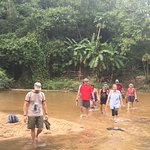 Crossing a river in the jungle!