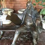 A cute statue/bench of Ben Franklin at the entrance to the hotel