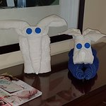 Animals made from towels by the housekeeping team