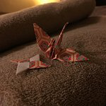 Cute origami awaiting me in my room