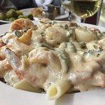 Seafood Tuscany - sautéed shrimp, scallops, crabmeat, asparagus, sun dried tomatoes & basil over