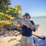 Big Redfish caught from shore at Quarantine rocks.