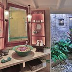 Very special bathrooms with sunken tubs, and a screened in open air space