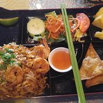 Lunch Special 'Shrimp Pad Thai' serving with a bento style. Good lunch, good quality, good time.