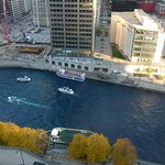 View from room. Dying the river blue for Cubs World Series win.