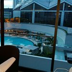 Our room has a nice swimming pool view and the suntec city view